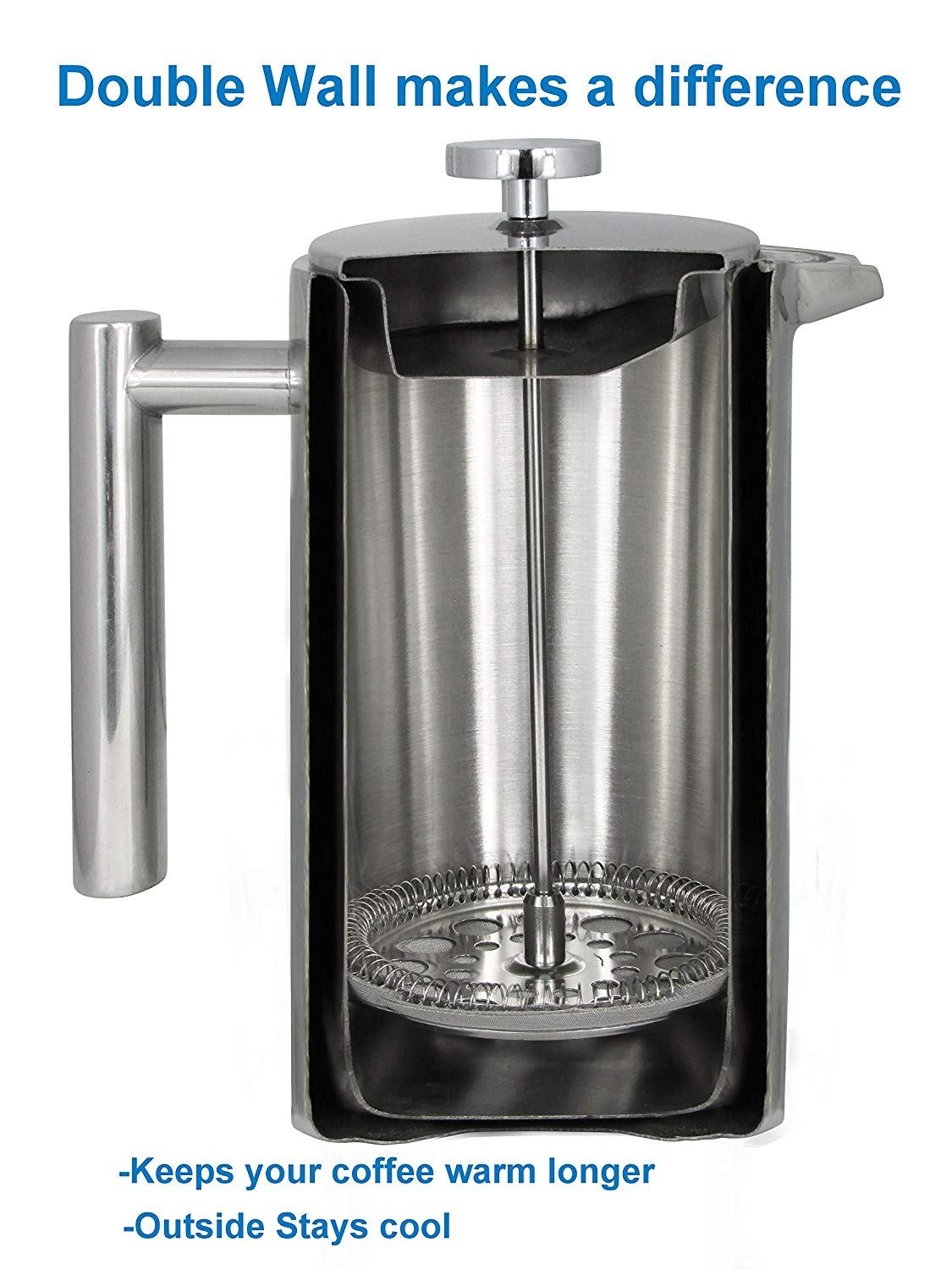 French Press Double-Wall Stainless Steel Mirror Finish (1L)